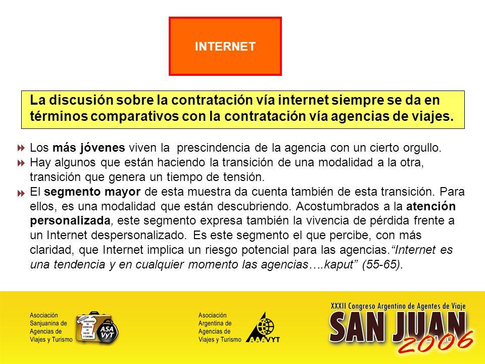 22 La discusión sobre la contratación vía internet siempre se da en términos comparativos con la contratación vía agencias de viajes.