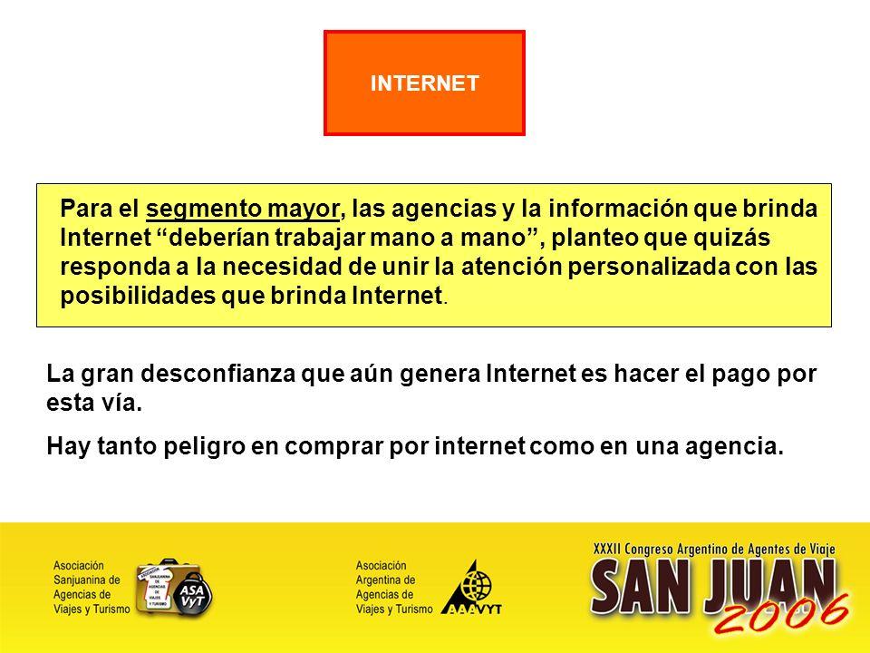 24 Para el segmento mayor, las agencias y la información que brinda Internet deberían trabajar mano a mano, planteo que quizás responda a la necesidad de unir la atención personalizada con las posibilidades que brinda Internet.