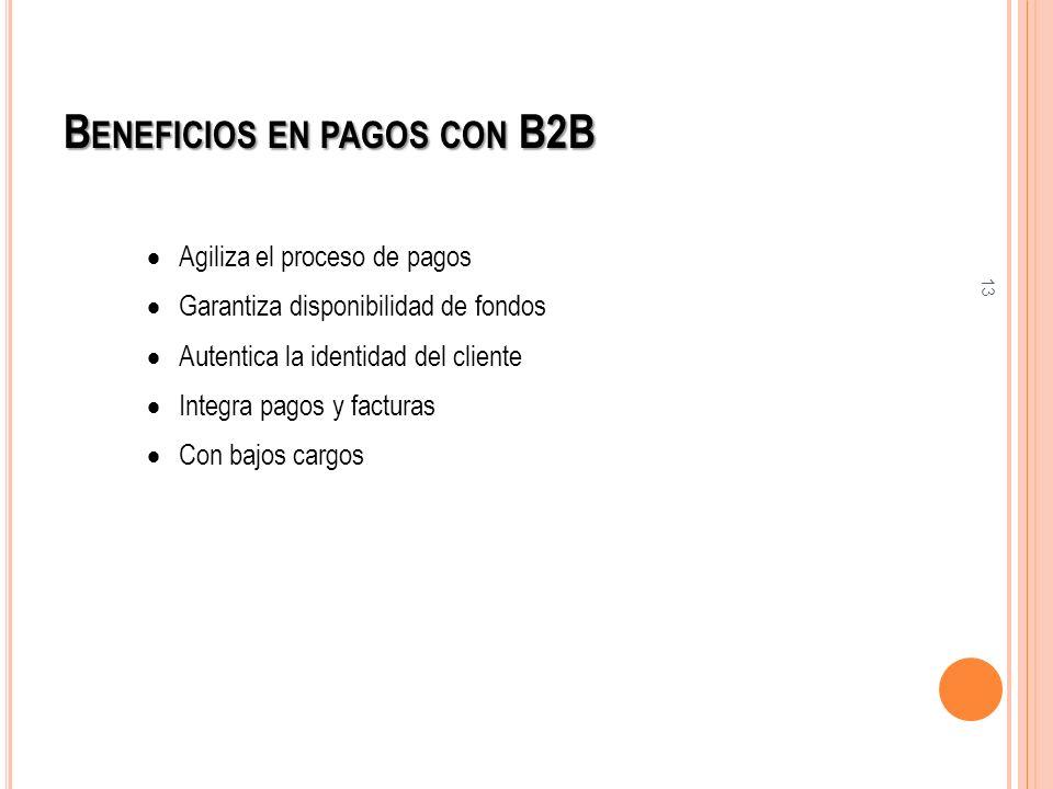 13 B ENEFICIOS EN PAGOS CON B2B Agiliza el proceso de pagos Garantiza disponibilidad de fondos Autentica la identidad del cliente Integra pagos y fact