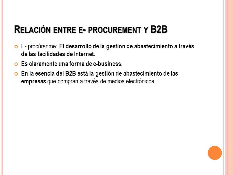 R ELACIÓN ENTRE E - PROCUREMENT Y B2B E- procúrenme: El desarrollo de la gestión de abastecimiento a través de las facilidades de Internet. Es clarame