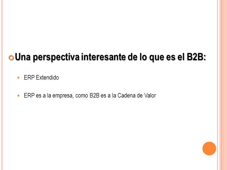 Una perspectiva interesante de lo que es el B2B: Una perspectiva interesante de lo que es el B2B: ERP Extendido ERP es a la empresa, como B2B es a la