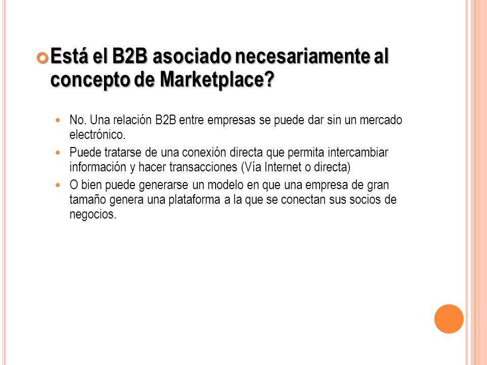 Está el B2B asociado necesariamente al concepto de Marketplace? Está el B2B asociado necesariamente al concepto de Marketplace? No. Una relación B2B e
