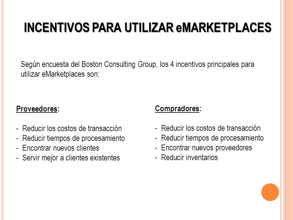 INCENTIVOS PARA UTILIZAR eMARKETPLACES Según encuesta del Boston Consulting Group, los 4 incentivos principales para utilizar eMarketplaces son: Prove