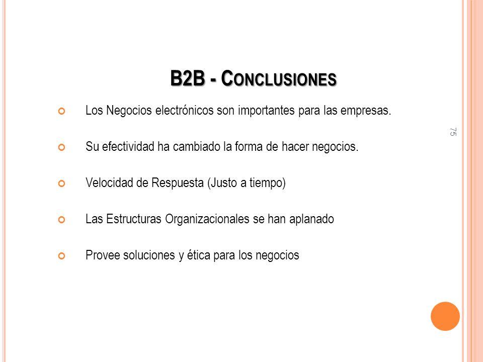 75 B2B - C ONCLUSIONES Los Negocios electrónicos son importantes para las empresas. Su efectividad ha cambiado la forma de hacer negocios. Velocidad d