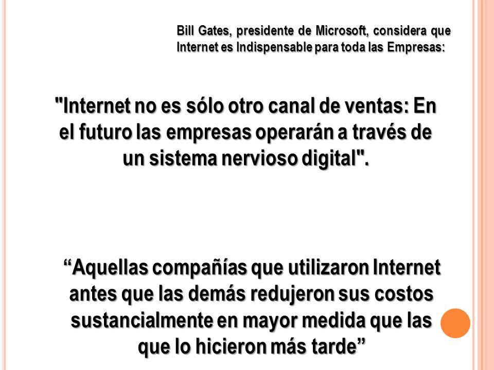 Bill Gates, presidente de Microsoft, considera que Internet es Indispensable para toda las Empresas: