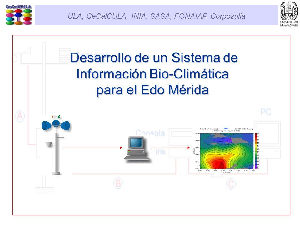 Contenido Objetivos Generales Estrategia Sistema de Información Bioclimática (SIBC) SIBC: Componentes SIBC: Ubicación de estaciones SIBC: Funcionamiento SIBC: Usos Posibles SIBC: Ejemplos