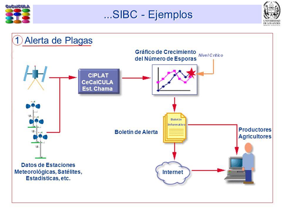 ...SIBC - Ejemplos 1 Alerta de Plagas Datos de Estaciones Meteorológicas, Satélites, Estadísticas, etc. CIPLAT CeCalCULA Est. Chama Gráfico de Crecimi