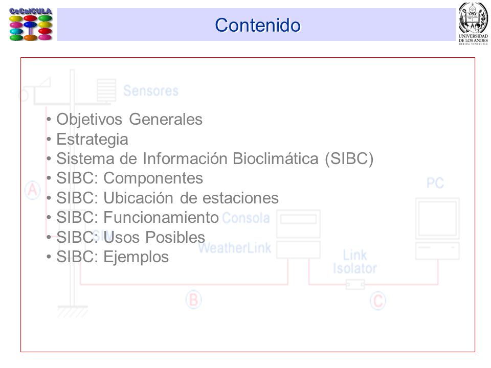 Contenido Objetivos Generales Estrategia Sistema de Información Bioclimática (SIBC) SIBC: Componentes SIBC: Ubicación de estaciones SIBC: Funcionamien