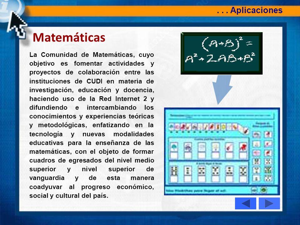 Matemáticas Supercómputo Compartido Ciencias de la Tierra Telemedicina y Salud Bibliotecas Digitales Educación a Distancia Laboratorios Astronomía Eco
