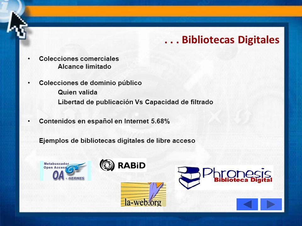 Bibliotecas Digitales Son espacios virtuales que facilitan el acceso, el uso, la diseminación y la generación del conocimiento. En estas actividades,