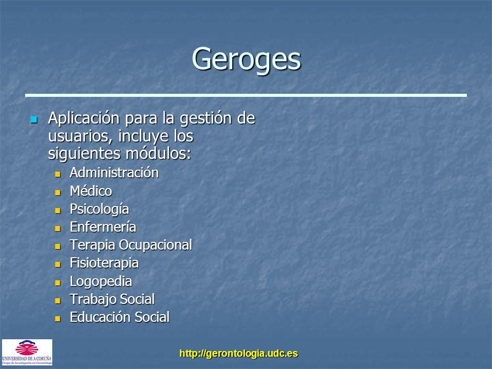 http://gerontologia.udc.es Geroges Aplicación para la gestión de usuarios, incluye los siguientes módulos: Aplicación para la gestión de usuarios, inc
