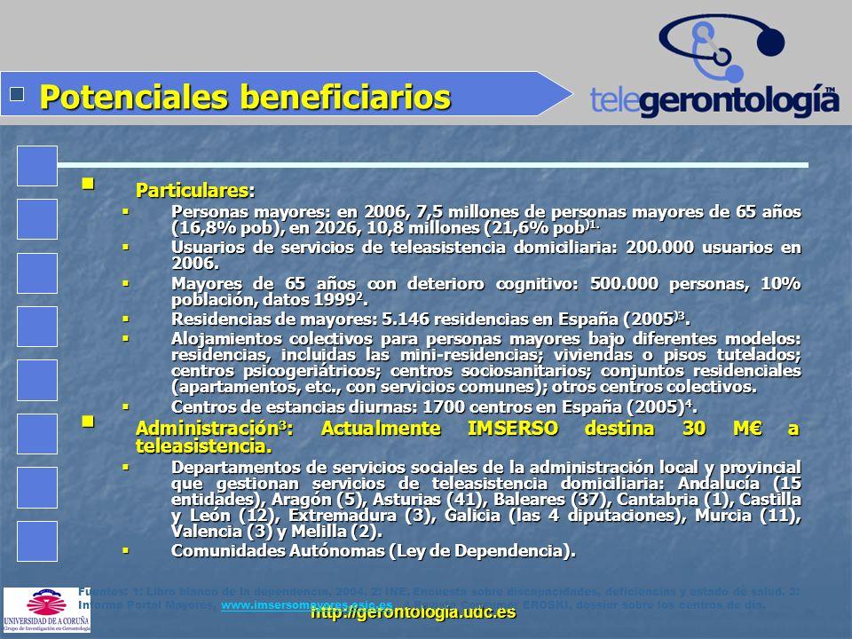 http://gerontologia.udc.es Potenciales beneficiarios Particulares: Particulares: Personas mayores: en 2006, 7,5 millones de personas mayores de 65 año