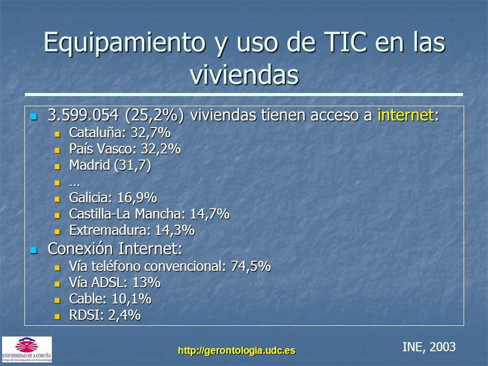 http://gerontologia.udc.es Equipamiento y uso de TIC en las viviendas 3.599.054 (25,2%) viviendas tienen acceso a internet: 3.599.054 (25,2%) vivienda