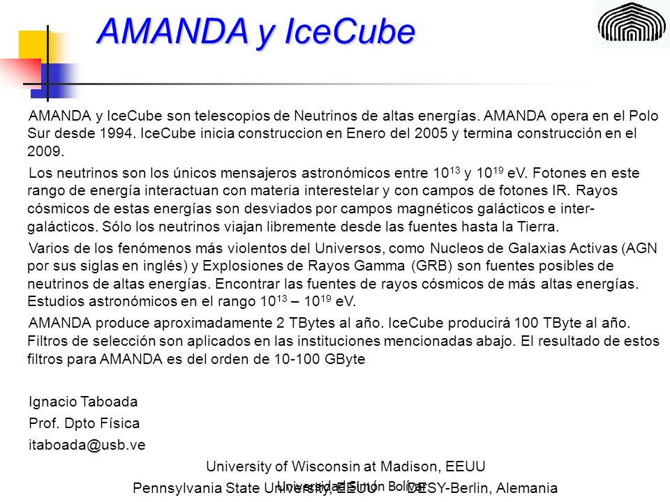 Universidad Simón Bolívar AMANDA y IceCube AMANDA y IceCube son telescopios de Neutrinos de altas energías.