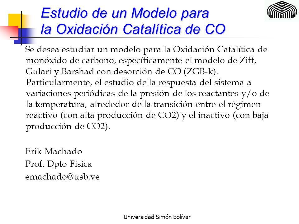 Universidad Simón Bolívar Estudio de un Modelo para la Oxidación Catalítica de CO Se desea estudiar un modelo para la Oxidación Catalítica de monóxido de carbono, específicamente el modelo de Ziff, Gulari y Barshad con desorción de CO (ZGB-k).