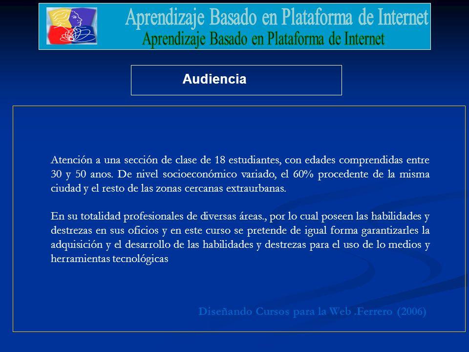 .Ferrero (2006)Diseñando Cursos para la Web Audiencia Atención a una sección de clase de 18 estudiantes, con edades comprendidas entre 30 y 50 anos. D