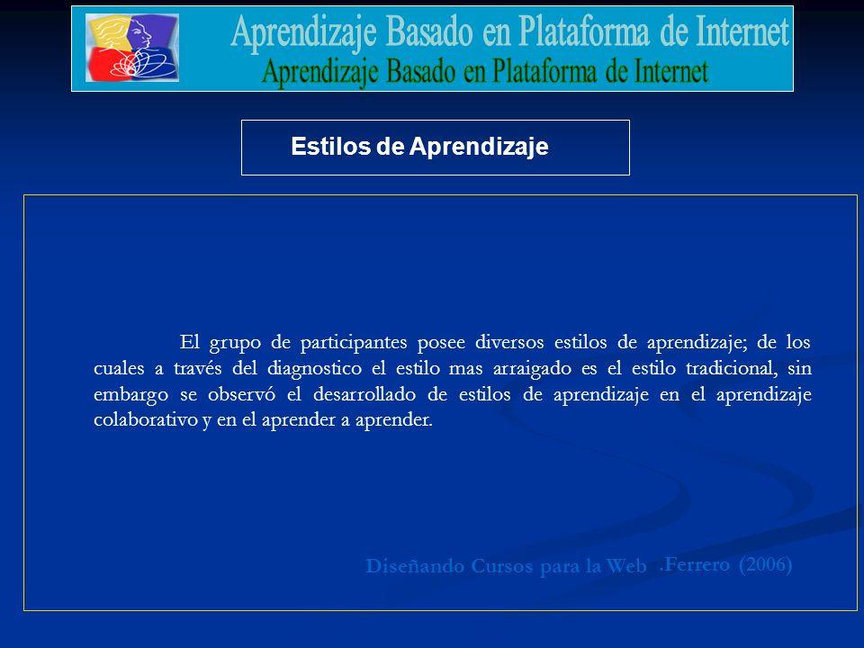 .Ferrero (2006) Diseñando Cursos para la Web Estilos de Aprendizaje El grupo de participantes posee diversos estilos de aprendizaje; de los cuales a t