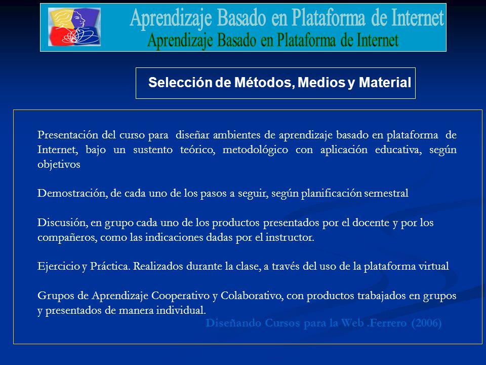 .Ferrero (2006)Diseñando Cursos para la Web Selección de Métodos, Medios y Material Presentación del curso para diseñar ambientes de aprendizaje basad