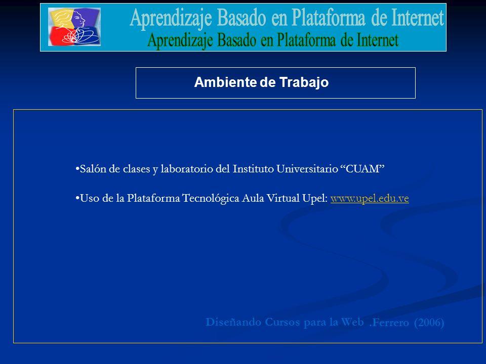 .Ferrero (2006) Diseñando Cursos para la Web Ambiente de Trabajo Salón de clases y laboratorio del Instituto Universitario CUAM Uso de la Plataforma Tecnológica Aula Virtual Upel: www.upel.edu.vewww.upel.edu.ve