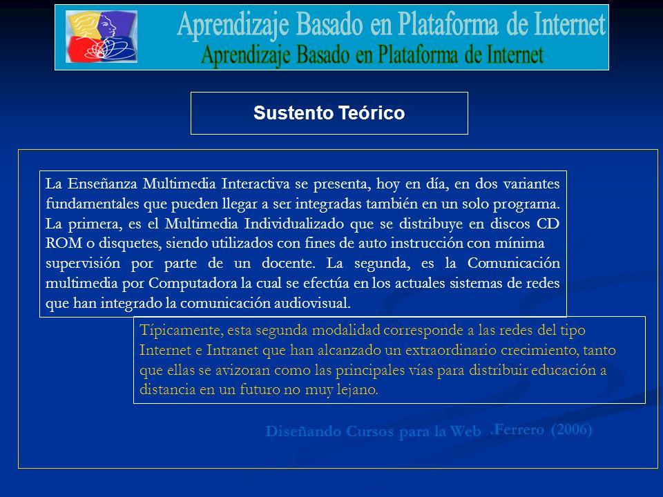 Sustento Teórico La Enseñanza Multimedia Interactiva se presenta, hoy en día, en dos variantes fundamentales que pueden llegar a ser integradas tambié