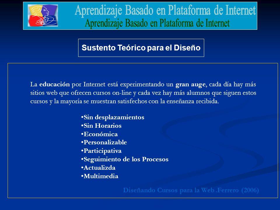 Sustento Teórico para el Diseño.Ferrero (2006)Diseñando Cursos para la Web La educación por Internet está experimentando un gran auge, cada día hay má