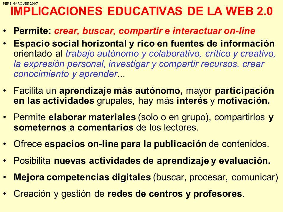 IMPLICACIONES EDUCATIVAS DE LA WEB 2.0 Permite: crear, buscar, compartir e interactuar on-line Espacio social horizontal y rico en fuentes de informac