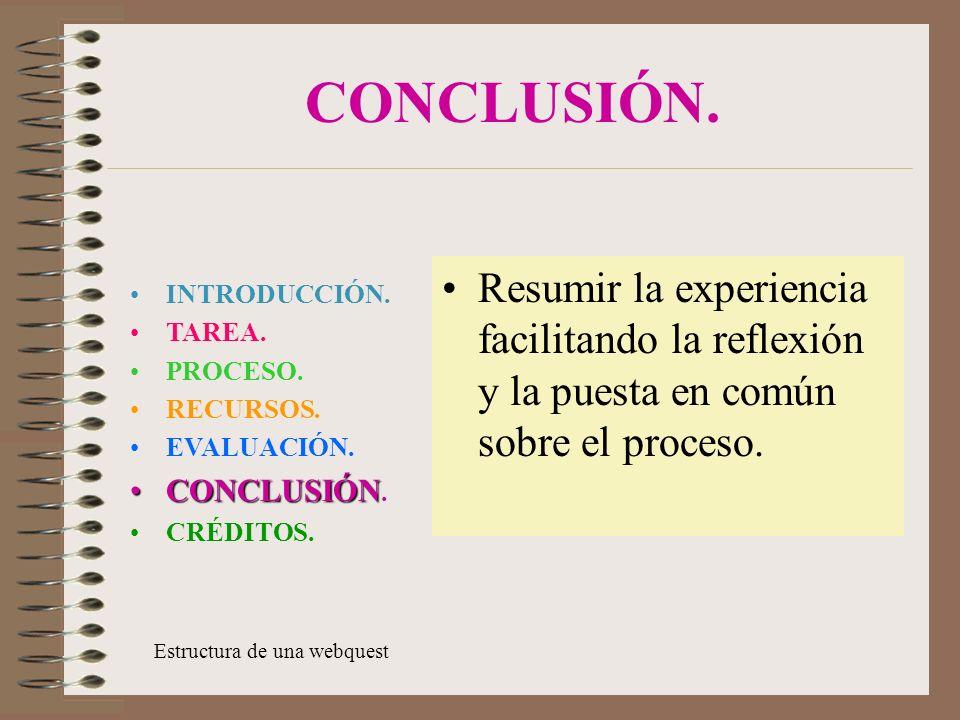 CONCLUSIÓN.Resumir la experiencia facilitando la reflexión y la puesta en común sobre el proceso.