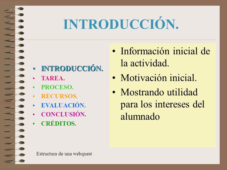 INTRODUCCIÓN.Información inicial de la actividad.