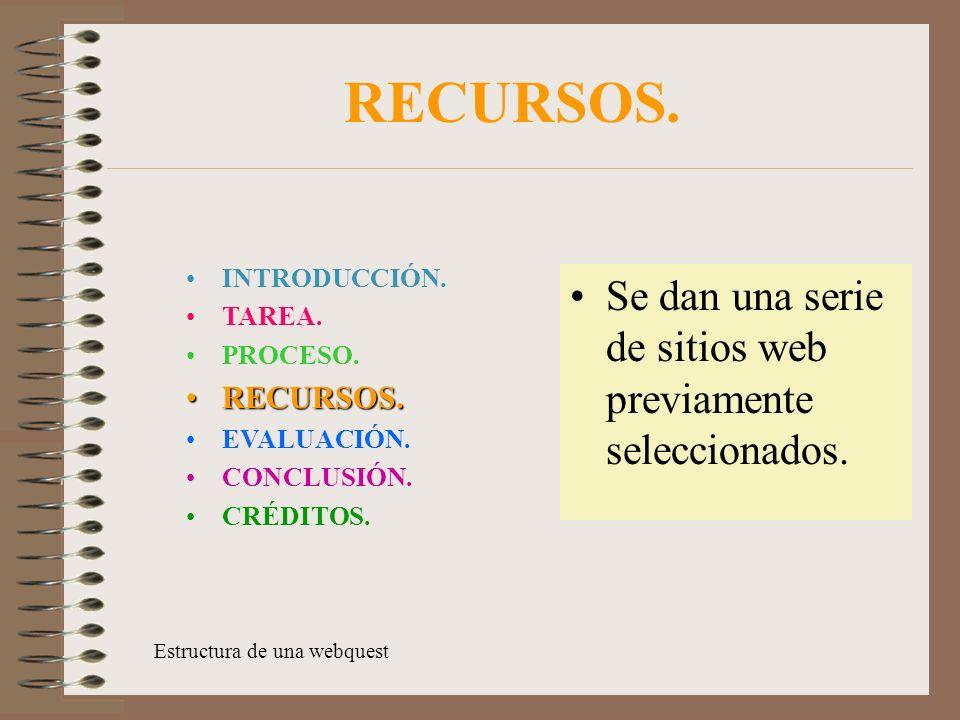 RECURSOS.Se dan una serie de sitios web previamente seleccionados.