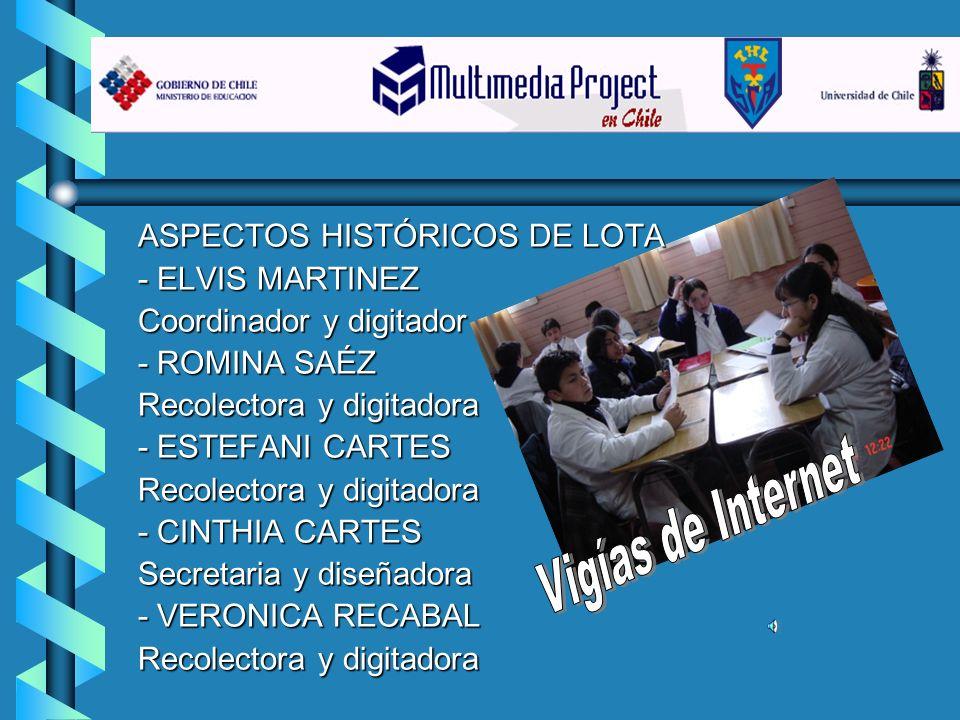 ASPECTOS HISTÓRICOS DE LOTA - ELVIS MARTINEZ Coordinador y digitador - ROMINA SAÉZ Recolectora y digitadora - ESTEFANI CARTES Recolectora y digitadora
