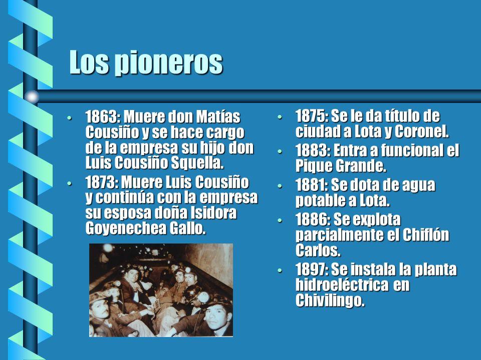 1863: Muere don Matías Cousiño y se hace cargo de la empresa su hijo don Luis Cousiño Squella. 1863: Muere don Matías Cousiño y se hace cargo de la em
