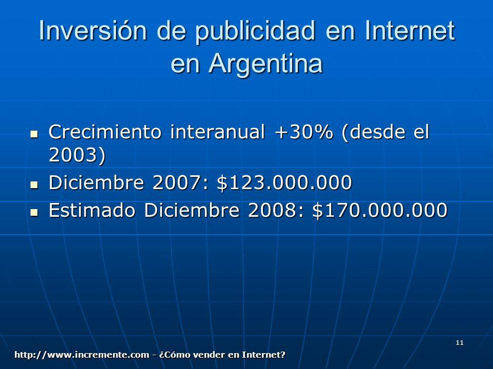 11 Inversión de publicidad en Internet en Argentina Crecimiento interanual +30% (desde el 2003) Crecimiento interanual +30% (desde el 2003) Diciembre 2007: $123.000.000 Diciembre 2007: $123.000.000 Estimado Diciembre 2008: $170.000.000 Estimado Diciembre 2008: $170.000.000 http://www.incremente.com - ¿Cómo vender en Internet