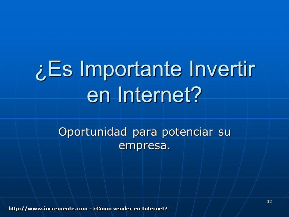 12 ¿Es Importante Invertir en Internet. Oportunidad para potenciar su empresa.