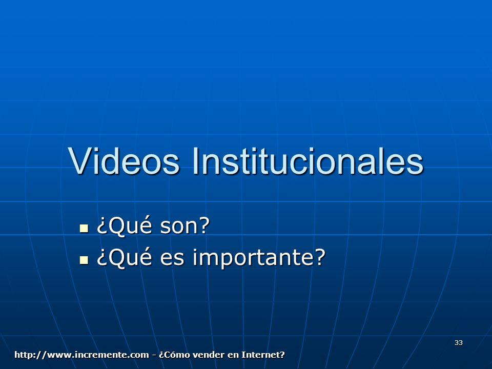 33 Videos Institucionales ¿Qué son. ¿Qué son. ¿Qué es importante.