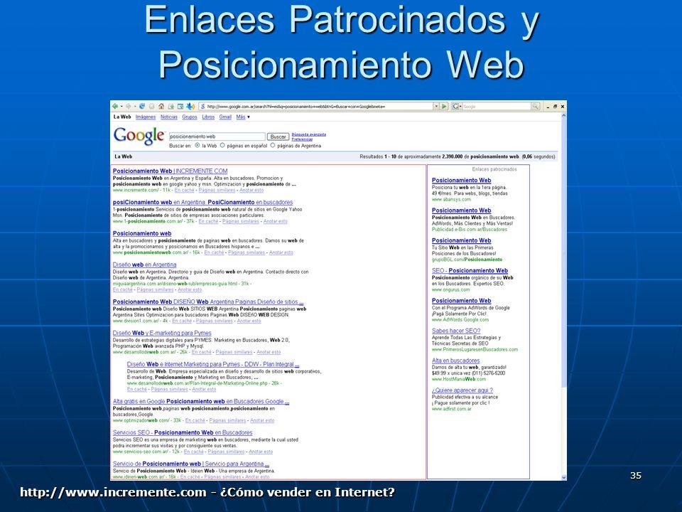 35 Enlaces Patrocinados y Posicionamiento Web http://www.incremente.com - ¿Cómo vender en Internet?