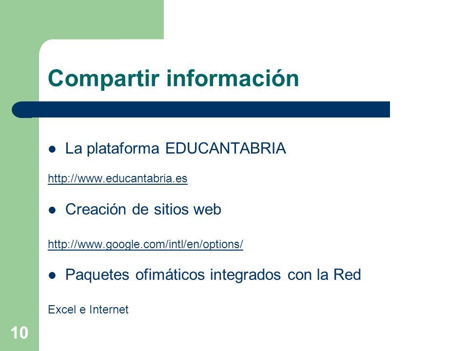 10 Compartir información La plataforma EDUCANTABRIA http://www.educantabria.es Creación de sitios web http://www.google.com/intl/en/options/ Paquetes