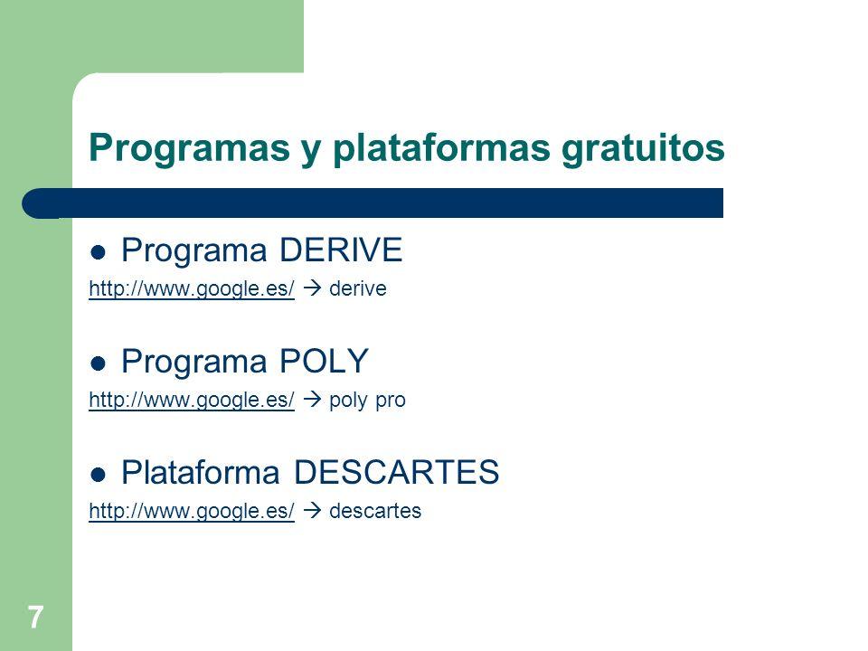 7 Programas y plataformas gratuitos Programa DERIVE http://www.google.es/http://www.google.es/ derive Programa POLY http://www.google.es/http://www.go