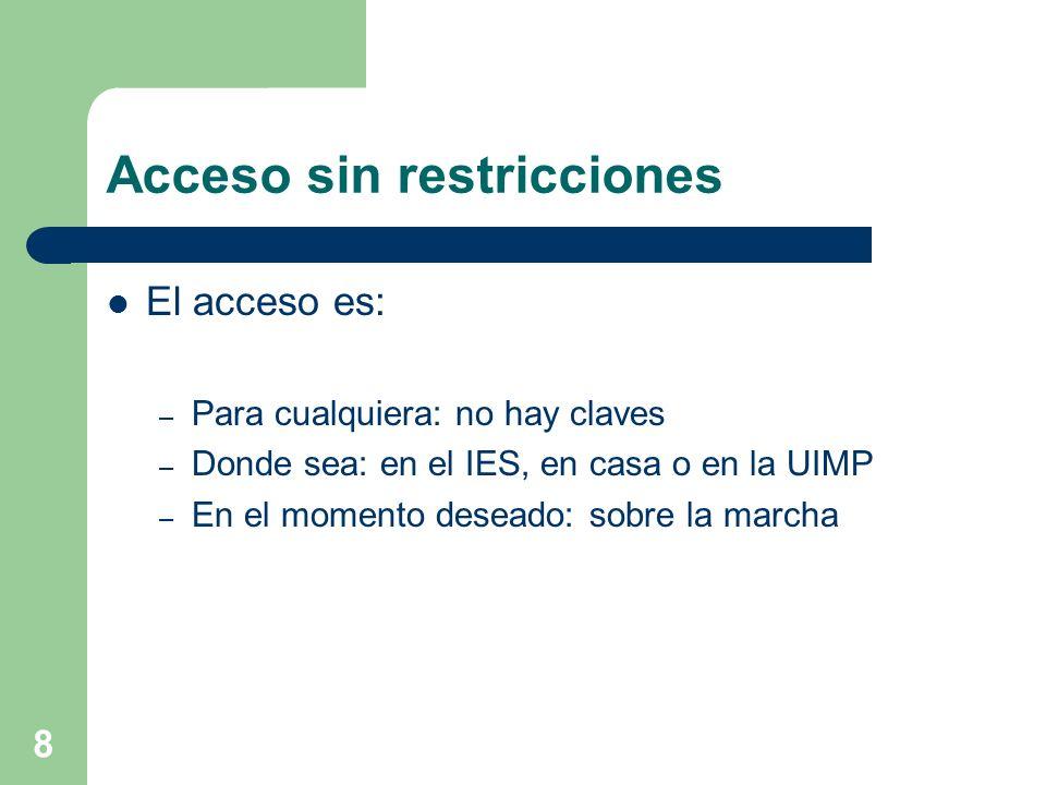 8 Acceso sin restricciones El acceso es: – Para cualquiera: no hay claves – Donde sea: en el IES, en casa o en la UIMP – En el momento deseado: sobre