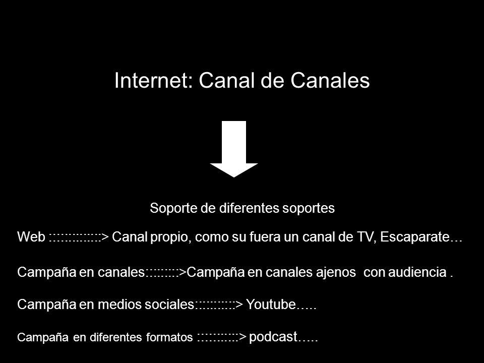 Internet: Canal de Canales Soporte de diferentes soportes Web ::::::::::::::> Canal propio, como su fuera un canal de TV, Escaparate… Campaña en canal