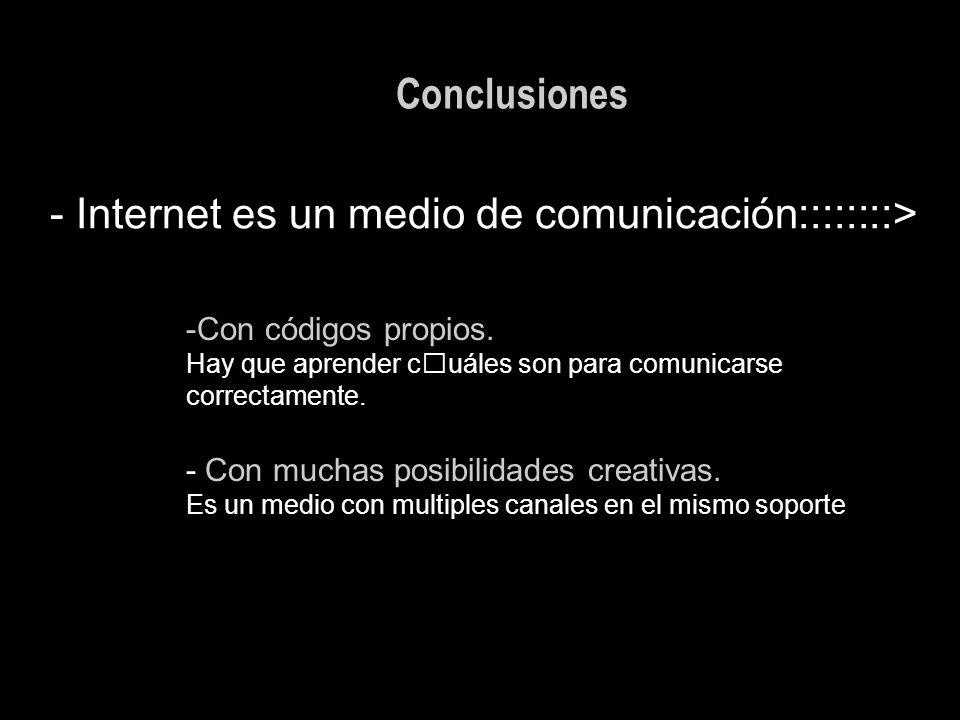 Conclusiones - Internet es un medio de comunicación::::::::> -Con códigos propios. Hay que aprender cuáles son para comunicarse correctamente. - Con m