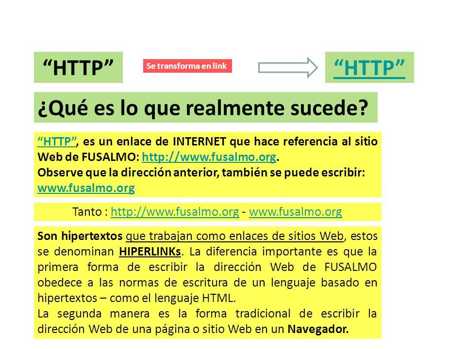 NAVEGADORES – HIPER LINKS HTTP Se transforma en link ¿Qué es lo que realmente sucede? HTTPHTTP, es un enlace de INTERNET que hace referencia al sitio
