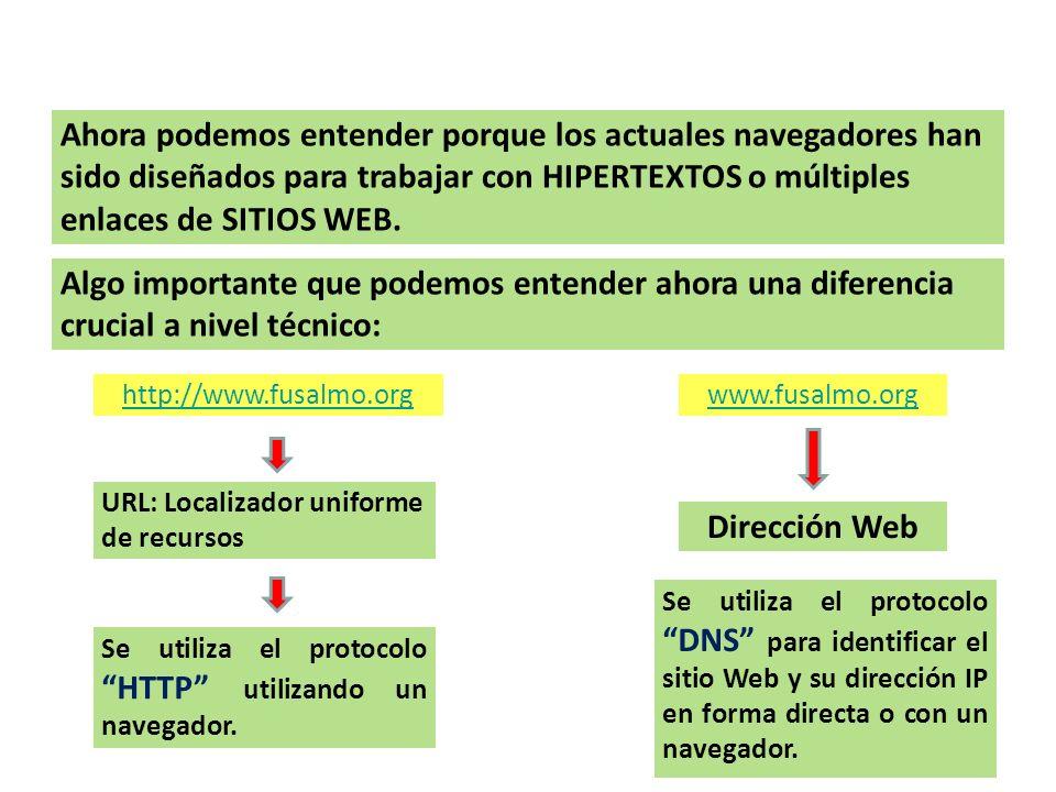 NAVEGADORES – HIPER LINKS Ahora podemos entender porque los actuales navegadores han sido diseñados para trabajar con HIPERTEXTOS o múltiples enlaces