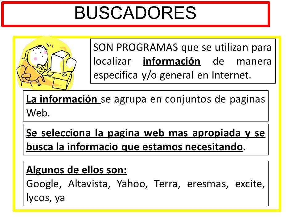 BUSCADORES SON PROGRAMAS que se utilizan para localizar información de manera especifica y/o general en Internet. La información se agrupa en conjunto