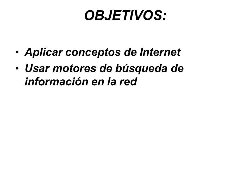 OBJETIVOS: Aplicar conceptos de Internet Usar motores de búsqueda de información en la red