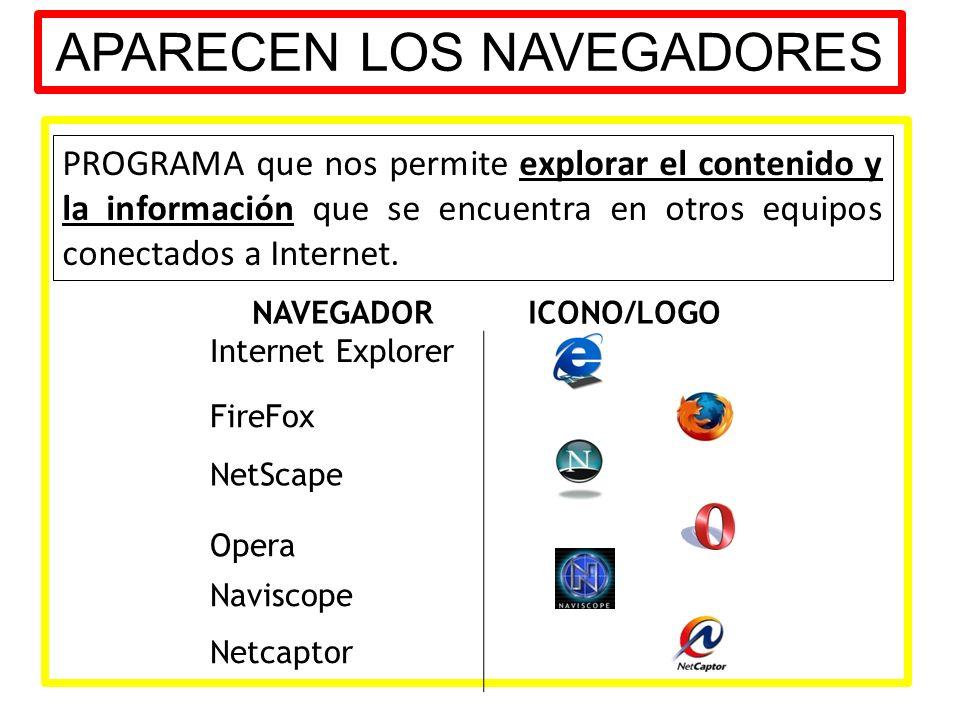 APARECEN LOS NAVEGADORES PROGRAMA que nos permite explorar el contenido y la información que se encuentra en otros equipos conectados a Internet. NAVE