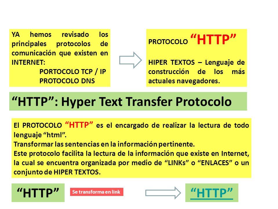 NAVEGADORES – HIPER LINKS YA hemos revisado los principales protocolos de comunicación que existen en INTERNET: PORTOCOLO TCP / IP PROTOCOLO DNS PROTO