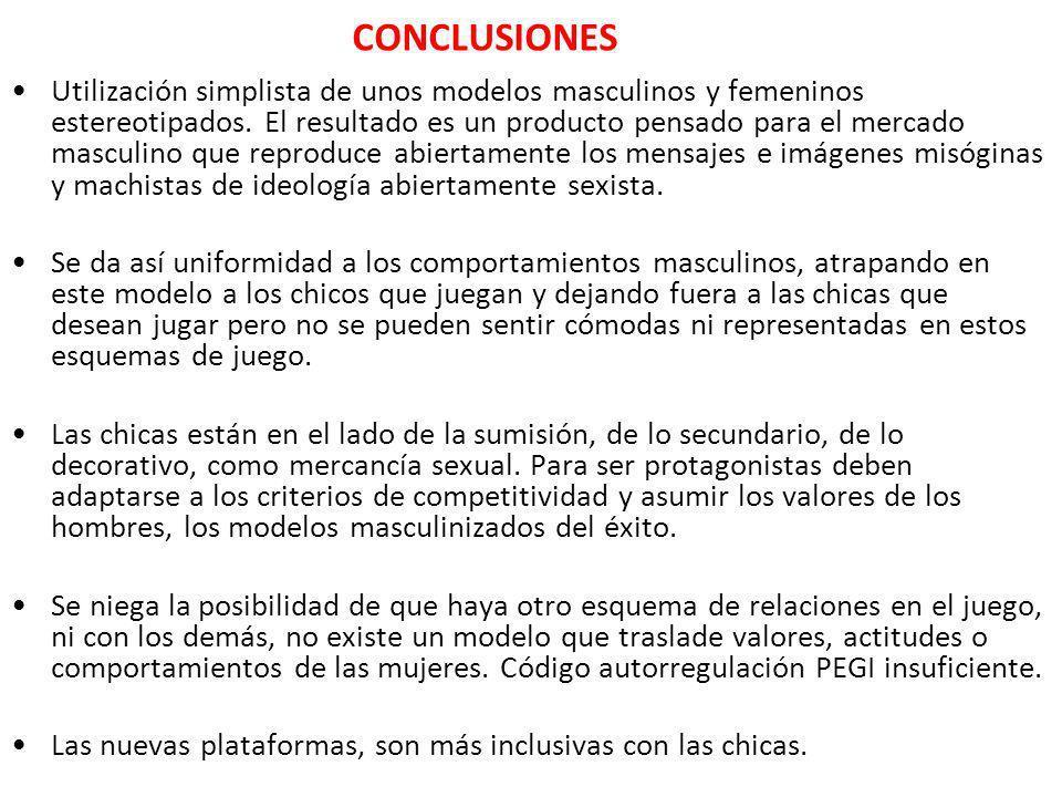 CONCLUSIONES Utilización simplista de unos modelos masculinos y femeninos estereotipados. El resultado es un producto pensado para el mercado masculin