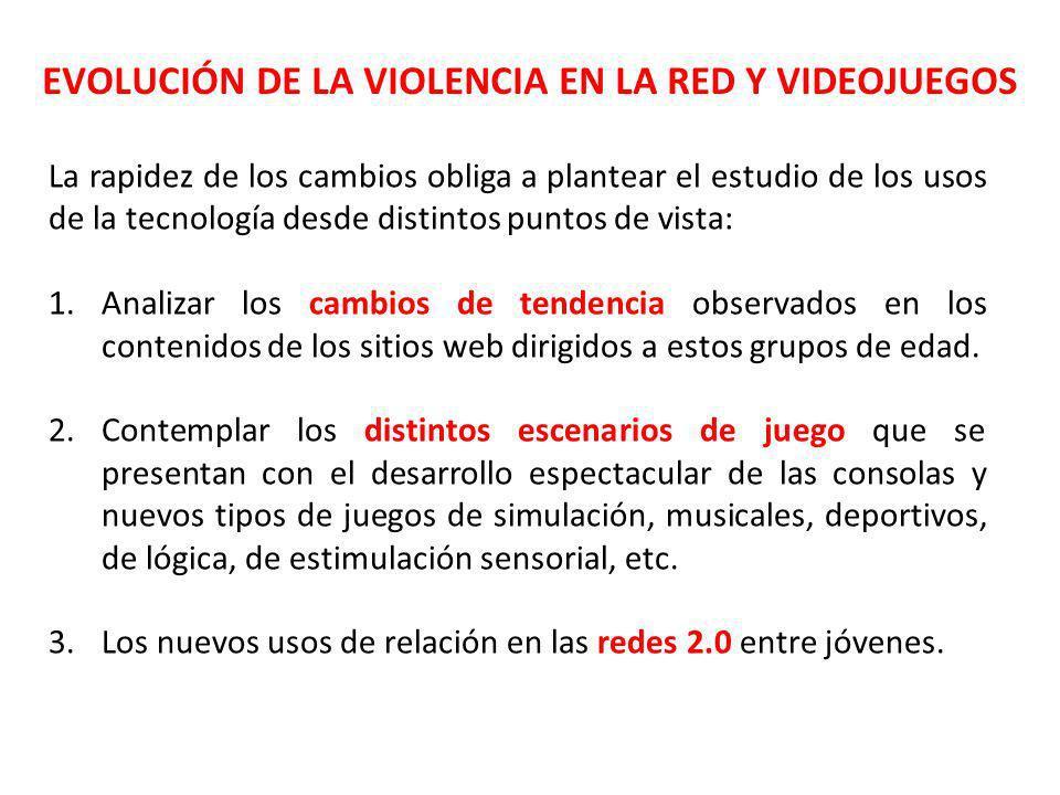 EVOLUCIÓN DE LA VIOLENCIA EN LA RED Y VIDEOJUEGOS La rapidez de los cambios obliga a plantear el estudio de los usos de la tecnología desde distintos