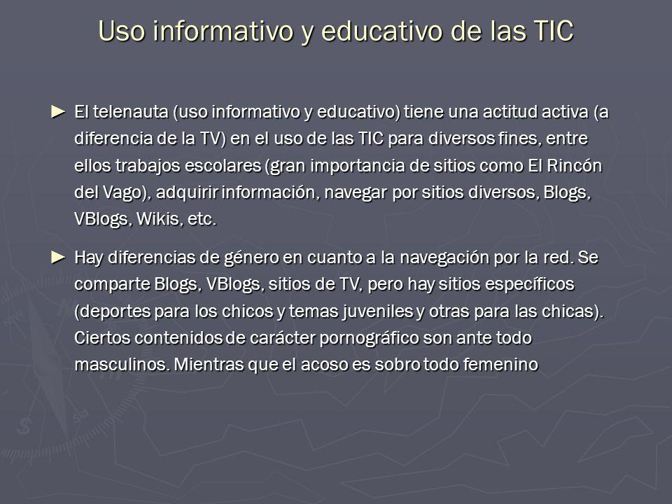 Uso informativo y educativo de las TIC El telenauta (uso informativo y educativo) tiene una actitud activa (a diferencia de la TV) en el uso de las TI
