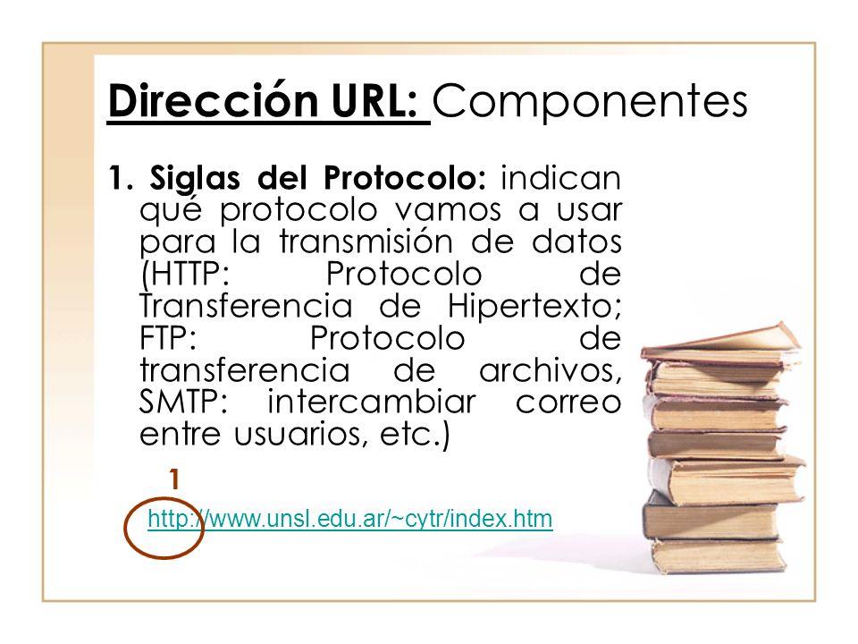 1. Siglas del Protocolo: indican qué protocolo vamos a usar para la transmisión de datos (HTTP: Protocolo de Transferencia de Hipertexto; FTP: Protoco